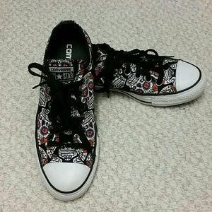 Sugar Skull Converse All Star Canvas Sneakers